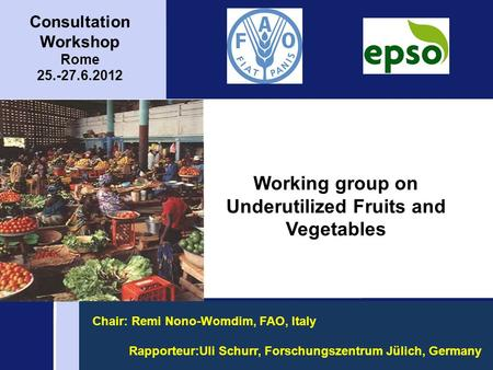 Working group on Underutilized Fruits and Vegetables Consultation Workshop Rome 25.-27.6.2012 Chair: Remi Nono-Womdim, FAO, Italy Rapporteur:Uli Schurr,