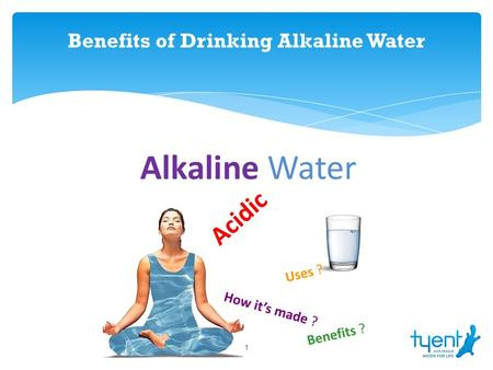 Benefits of Drinking Alkaline Water 1. From the stuff we drink and swim in, to the steam that eases cramming and the ice that reduces swelling, water.
