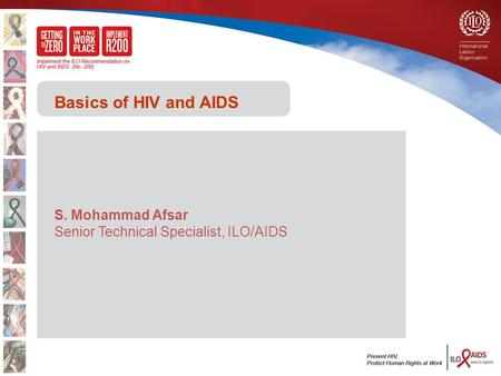 Basics of HIV and AIDS S. Mohammad Afsar Senior Technical Specialist, ILO/AIDS.