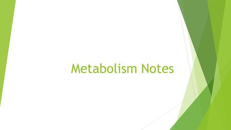 Metabolism Notes. Metabolism  Metabolism is such a big word to explain a simple idea. We all need energy to survive. Whether we are plants, animals,