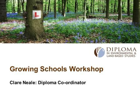 Growing Schools Workshop Clare Neale: Diploma Co-ordinator.