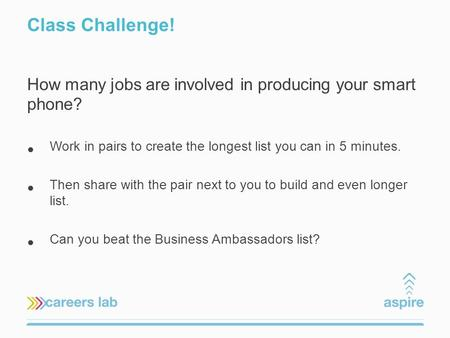 Class Challenge! How many jobs are involved in producing your smart phone? Work in pairs to create the longest list you can in 5 minutes. Then share with.