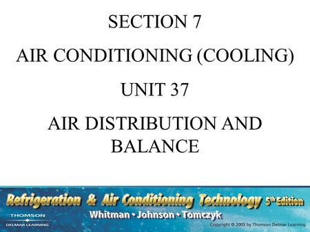 AIR CONDITIONING (COOLING) UNIT 37 AIR DISTRIBUTION AND BALANCE