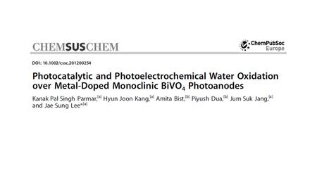 Introduction BiVO 4 is an effective photocatalytic material for solar water oxidation reaction because of nontoxicity and photochemical stability However,