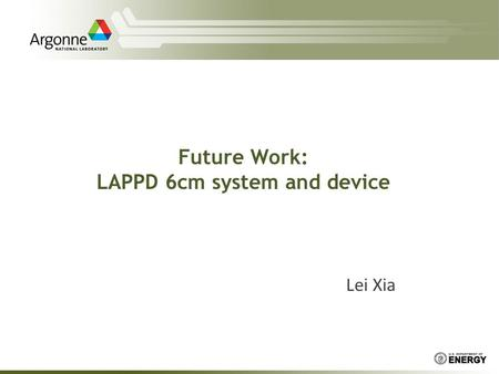 Future Work: LAPPD 6cm system and device Lei Xia.