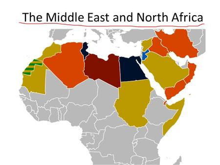 The Middle East and North Africa. The countries in the region are linked together by: Climate- Much of the region consists of deserts and arid land.