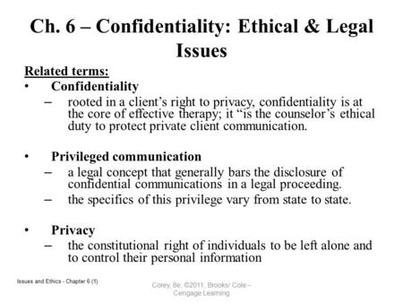 Ch. 6 – Confidentiality: Ethical & Legal Issues Related terms: Confidentiality – rooted in a client's right to privacy, confidentiality is at the core.