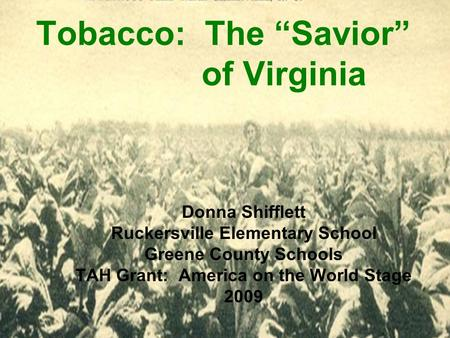 "Tobacco: The ""Savior"" of Virginia Donna Shifflett Ruckersville Elementary School Greene County Schools TAH Grant: America on the World Stage 2009."