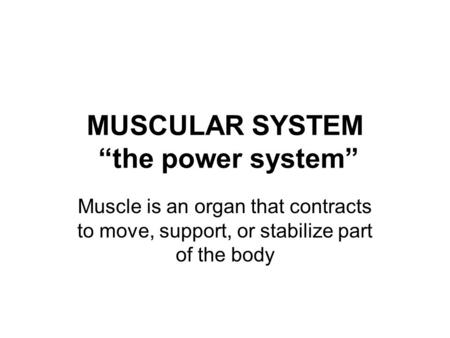 "MUSCULAR SYSTEM ""the power system"" Muscle is an organ that contracts to move, support, or stabilize part of the body."