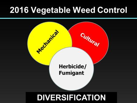 2016 Vegetable Weed Control Mechanical Cultural Herbicide/ Fumigant DIVERSIFICATION.