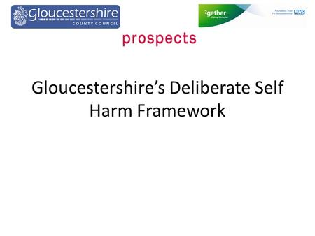 Gloucestershire's Deliberate Self Harm Framework.