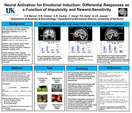 Neural Activation for Emotional Induction: Differential Responses as a Function of Impulsivity and Reward-Sensitivity C.E.Benca 1, H.R. Collins 1, C.R.