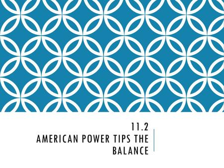 11.2 AMERICAN POWER TIPS THE BALANCE. SELECTIVE SERVICE ACT  The country responded to the lack of manpower with a draft.
