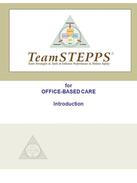 For OFFICE-BASED CARE Introduction ®. TeamSTEPPS | Office-Based Care Introduction Slide 1 1 INTRODUCTION MODULE TIME: 30 minutes MATERIALS: Flipchart.