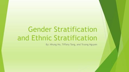 Gender Stratification and Ethnic Stratification By: Nhung Ho, Tiffany Tang, and Truong Nguyen.