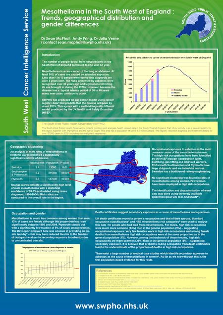 Mesothelioma in the South West of England : Trends, geographical distribution and gender differences Dr Sean McPhail, Andy Pring, Dr Julia Verne (contact.