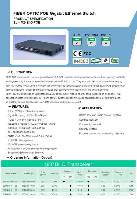 PRODUCT SPECIFICATION EL – M24E4G-POE FCC 2 SFP 1G 20 POE10/100 ☞ DESCRIPTION. ☞ FEATURES.CCTV, ITV and traffic control System.Campus Network.Community.