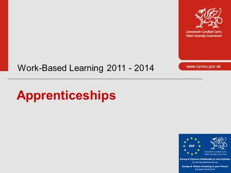 Www.cymru.gov.uk Work-Based Learning 2011 - 2014 Apprenticeships.