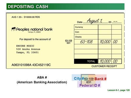 DEPOSITING CASH Lesson 6-1, page 120 City # Bank # Federal ID # ABA # (American Banking Association)