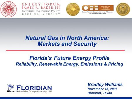 Florida's Future Energy Profile Reliability, Renewable Energy, Emissions & Pricing Bradley Williams November 15, 2007 Houston, Texas Natural Gas in North.
