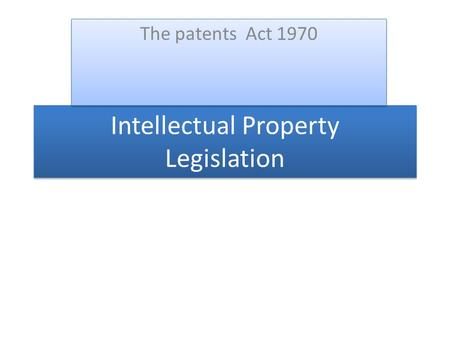 Intellectual Property Legislation The patents Act 1970.