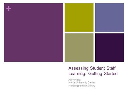 + Assessing Student Staff Learning: Getting Started Amy White Norris University Center Northwestern University.