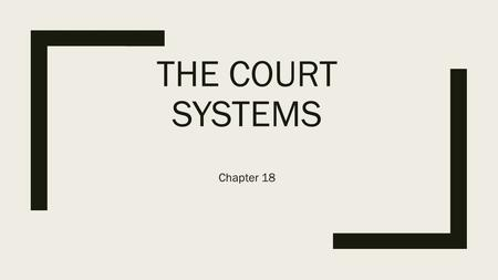 THE COURT SYSTEMS Chapter 18. The Dual Court System ■In the United States there are two types of court systems under which every court in the nation can.