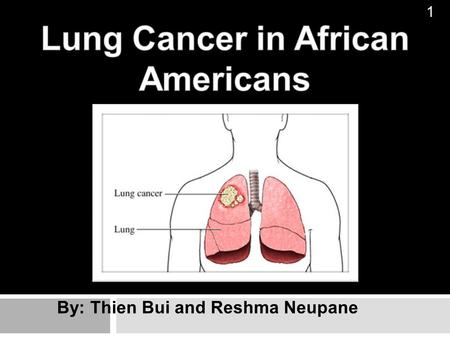By: Thien Bui and Reshma Neupane 1. Lung Cancer Lung Cancer is an uncontrolled growth of abnormal cells in one or more lungs 2 Common Types of Lung Cancer: