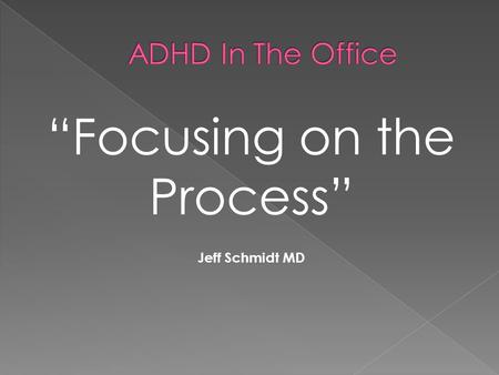 """Focusing on the Process"" Jeff Schmidt MD.  Recommendation #1: Children ages 4-18 who present with academic underachievement, behavior problems or."