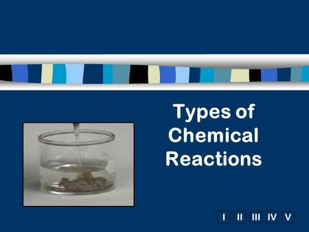 IIIIIIIVV Types of Chemical Reactions. C 3 H 8 (g)+ O 2 (g)  5 3 4 1. Combustion n Reactants:  Always contain oxygen n Products:  hydrocarbons form.