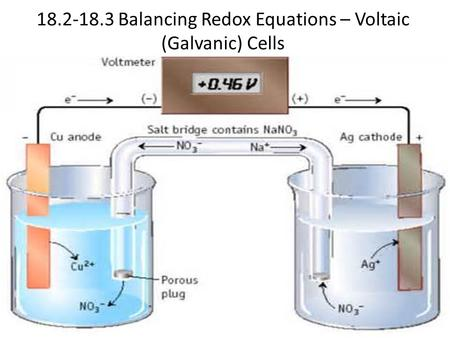 18.2-18.3 Balancing Redox Equations – Voltaic (Galvanic) Cells.