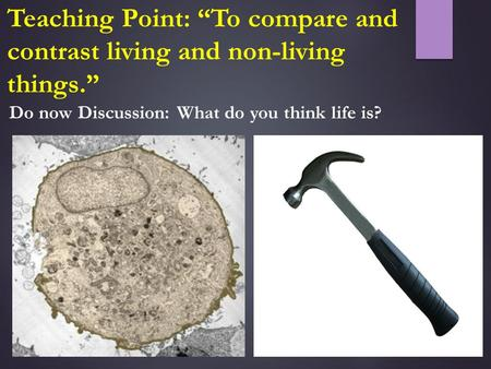 "Do now Discussion: What do you think life is? Teaching Point: ""To compare and contrast living and non-living things."""