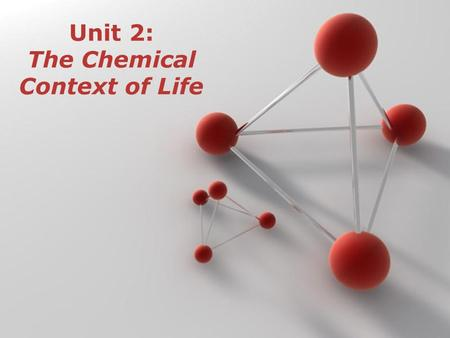 Unit 2: The Chemical Context of Life. I. Elements and Compounds A.Matter – anything that takes up space and has mass B.Element – can't be broken down.