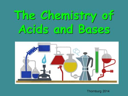 The Chemistry of Acids and Bases Thornburg 2014. Objectives Define the following: –Acids –Bases –The pH scale compare/ contrast properties of acids and.