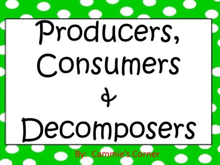 Producers, Consumers & Decomposers By: Cammie's Corner.