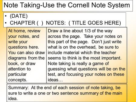 Note Taking-Use the Cornell Note System (DATE) CHAPTER ( ) NOTES: ( TITLE GOES HERE) At home, review your notes, and write your questions here. You can.