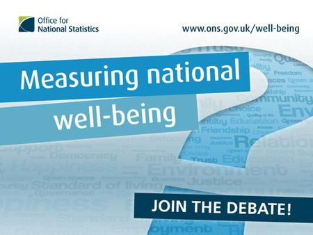 Aims for this talk Measuring national well-being: what ONS is doing, why and how Connect with what others are doing, internationally and in the UK What.