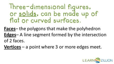 Three-dimensional figures, or solids, can be made up of flat or curved surfaces. Faces– the polygons that make the polyhedron Edges– A line segment formed.