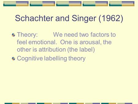 Schachter and Singer (1962) Theory:We need two factors to feel emotional. One is arousal, the other is attribution (the label) Cognitive labelling theory.