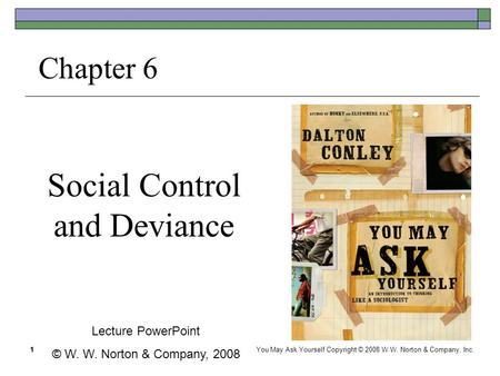 1 Social Control and Deviance Chapter 6 Lecture PowerPoint © W. W. Norton & Company, 2008 1 You May Ask Yourself Copyright © 2008 W.W. Norton & Company,