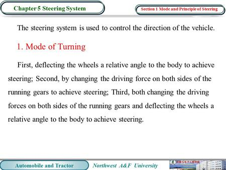 Northwest A&F University Automobile and Tractor Chapter 5 Steering System The steering system is used to control the direction of the vehicle. 1. Mode.