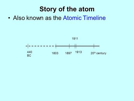 Story of the atom Also known as the Atomic Timeline 440 BC 1803 1911 1897 1913 20 th century.