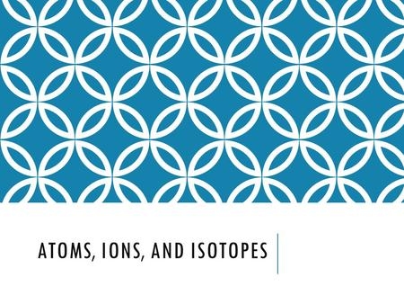 ATOMS, IONS, AND ISOTOPES QUICK REVIEW Atoms are made up of three particles:  Protons  Neutrons  Electrons Question: Which of the three particles.