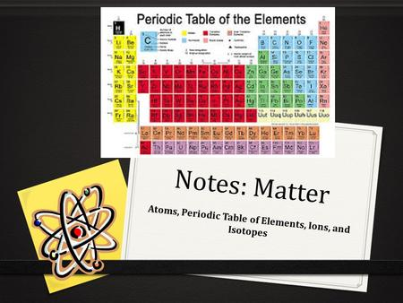 Notes: Matter Atoms, Periodic Table of Elements, Ions, and Isotopes.