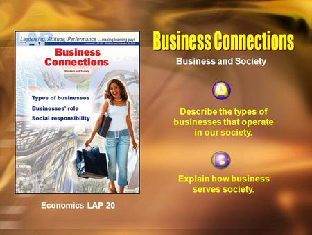 LAP 20 Economics LAP 20 Describe the types of businesses that operate in our society. Explain how business serves society. Business and Society.