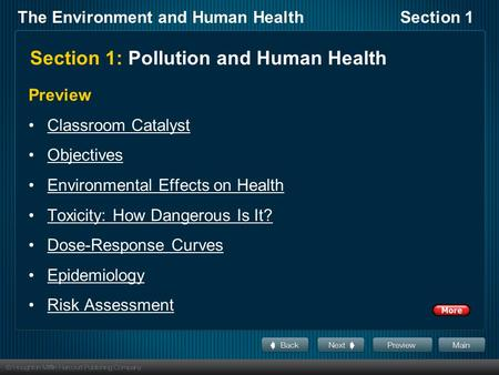 The Environment and Human HealthSection 1 Section 1: Pollution and Human Health Preview Classroom Catalyst Objectives Environmental Effects on Health Toxicity: