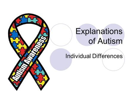 Explanations of Autism Individual Differences. Cognitive Explanations Individual Differences.