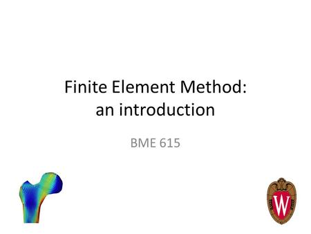 Finite Element Method: an introduction BME 615. Definition The finite element method (FEM) is a numerical technique to approximate solutions to BVPs for.