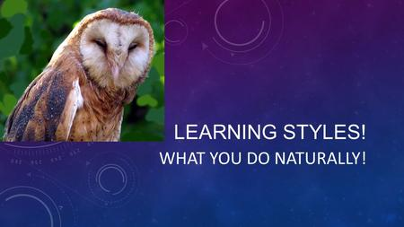 LEARNING STYLES! WHAT YOU DO NATURALLY!. VISUAL/VERBAL LEARNER See it, read it Study best alone.