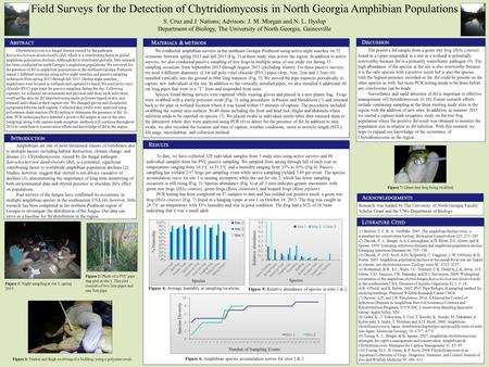 Field Surveys for the Detection of Chytridiomycosis in North Georgia Amphibian Populations S. Cruz and J. Nations; Advisors: J. M. Morgan and N. L. Hyslop.